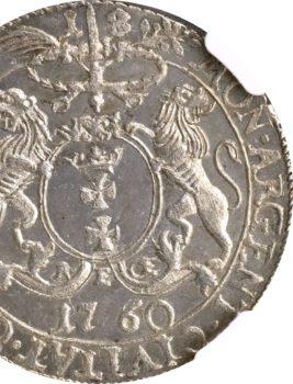 """3 Aukcja """"NUMIZMATYKA"""" – Ort 1760 rok  Gdańsk NGC MS 64!"""