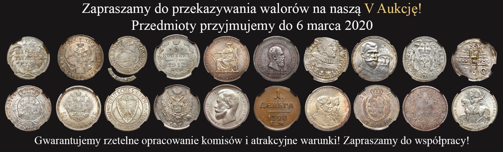 """Na naszej 4-tej Aukcji """"Numizmatyka"""" – reklamowo!"""